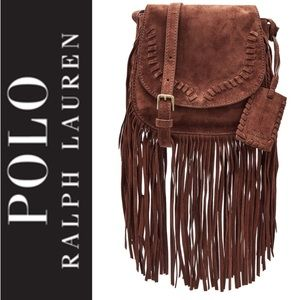 🆕 Polo Ralph Lauren Fringed Italian Suede Bag